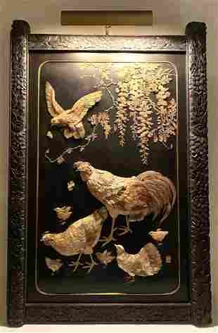 Lacquered and Inlaid Asian Panel. Carved sculptural Chi