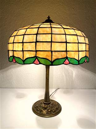 Vintage Slag Glass Shade Table Lamp. Bronze Base with f