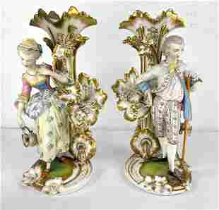 Pair Old Paris Porcelain Mantle Candle Holder Vases. Fi