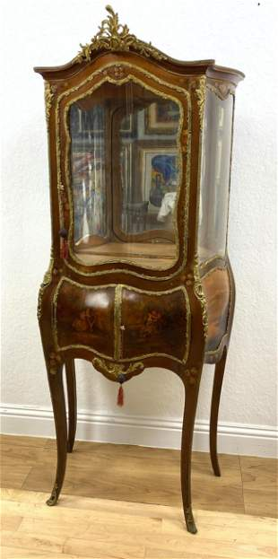 French Louis XV Style Curio Display Cabinet.  Hand Pain