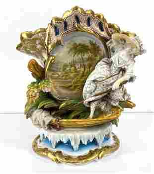 Old Paris Porcelain Mantle Vase. Hand Painted.