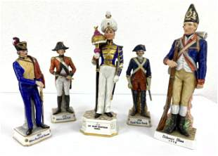 5pcs Regimental Painted Porcelain Figures. Hand Painted