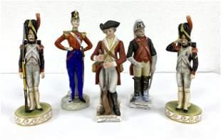 5pcs Military Regimental Painted Porcelain Figures.