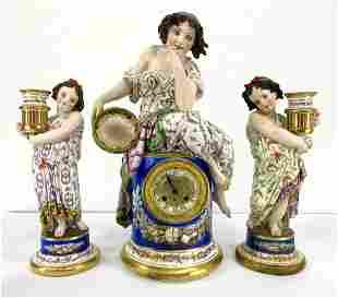 3pc French porcelain Figural Clock Girandole Set. Pr fi