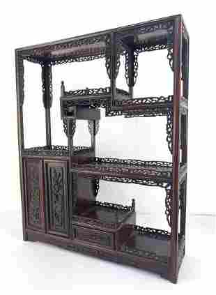 Carved Asian Curio Hanging Wall Cabinet. Small compartm