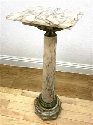 Vintage Marble Pedestal Display Stand. Grained marble.