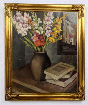 Signed Floral Still Life Painting on Canvas. Gladiolas.