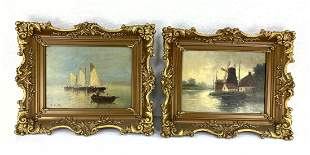Two Antique Marine Scene Oil Paintings on Canvas. F HAL