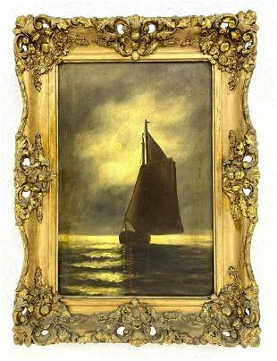 Antique Marine Scene Painting. Sailboat. Illegible sign