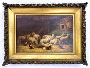 J.J. BREEN Antique Oil Painting on Canvas. Sheep and ch