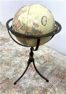 World Globe Floor Model in Metal Stand.