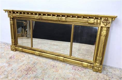 Antique Gold Gilt Federal Style Wall Mirror. 3 Part mir