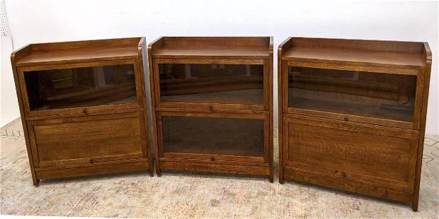 Set 3 STICKLEY Mission Oak Bookcases. Lift doors.