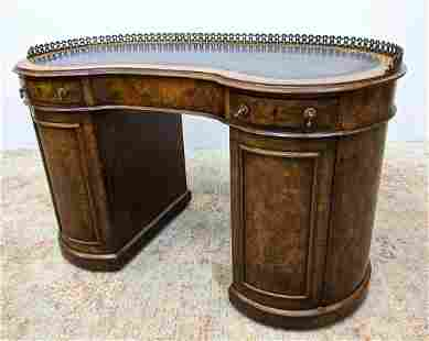 Burl wood English Style Kidney Desk with Brass Gallery