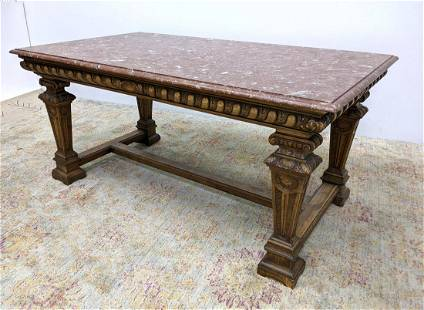 Decorator Marble Top Library Table with Carved Gothic F