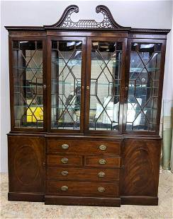 Large Baker Style Secretary Breakfront Cabinet. Broken