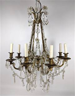 Vintage Brass and Crystal Chandelier Pendant Lamp. Drop