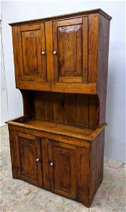 Antique Step Back Pine Cabinet with Closed Doors.