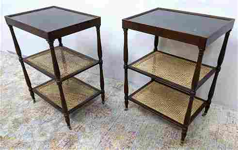Pair 3 Tier Side Table Stands with Inset Marble Tops.