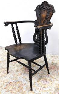 Antique Carved Oak Arm Chair with Dolphins. Lion head h