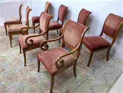 Set 8 KINDEL Furniture Co. Dining Chairs. Saber leg wit