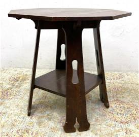 LIMBERT Mission Oak 101 Center Table with Cut Outs. Oct