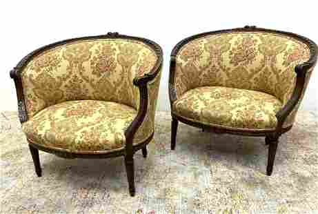 Pair French Style Carved Frame Lounge Easy Chairs.