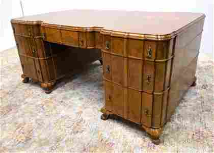 Art Deco Burl Wood Large Executive Desk. Large form wit