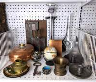 Mixed Vintage Metals Lot. Copper, Brass. Modernist Glas