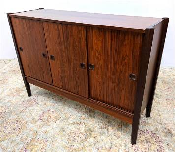 Danish Modern Rosewood Credenza Cabinet with Sliding Do