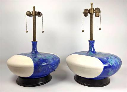 Pair Large Pottery Table Lamps. Wide bases with Blue La