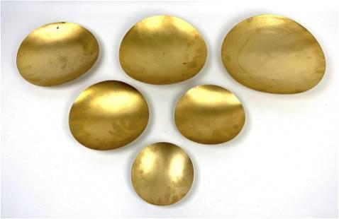 Set of 6 TOM DIXON Nesting Gilt Metal Bowls. Graduated