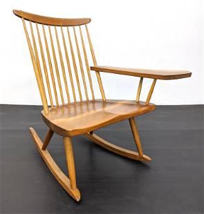 GEORGE NAKASHIMA Paddle Arm Rocking Chair. Signed