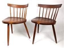 """Pair of GEORGE NAKASHIMA """"Mira"""" Chairs Triangular Seats"""