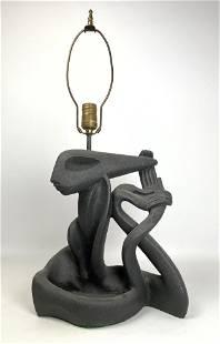 Frederick Weinberg Plaster Modernist Figural Lamp. Gray