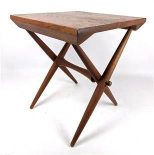 "JENS QUISTGAARD Teak DANSK Side Table. Stylish ""X"" form"