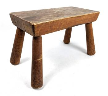Primitive Four Legged Low Stool. Tapered legs