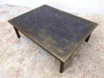 PHILIP & KELVIN LAVERNE Etched Bronze Table. Figural et