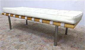 Mies Van Der Rohe Barcelona style Bench. Tufted white s