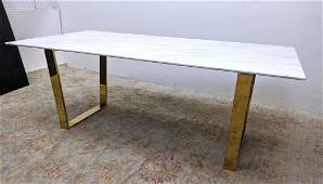 Large Marble Top Brass Base Dining Table.