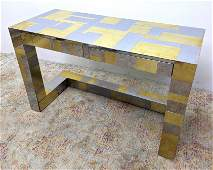 PAUL EVANS Unsigned Chrome, Brass Cityscape Hall Table.