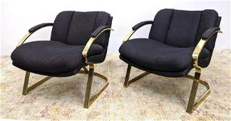 Pair CARSON'S Mid Century Modern Lounge Chairs with Gol