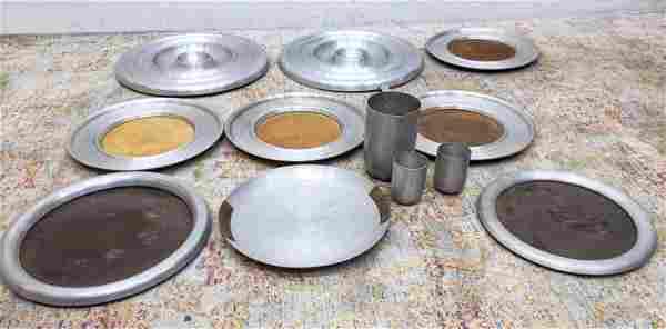 RUSSEL WRIGHT Spun Aluminum Lot. MCM Table ware. Trays,