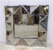 Modernist Wall Mirror. Faceted and angled mirror panels
