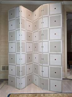 BAKER Attributed 4 Panel Screen Room Divider. Decorate