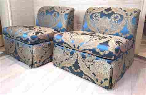 Pair CRAFTON Furniture Armless Lounge Chairs. Fully uph