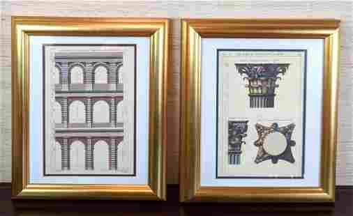 Pair Framed Architectural Bookplates. Colored etchings.