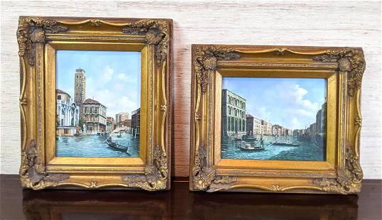 2pcs Venetian Oil Paintings on Panel. Unsigned.