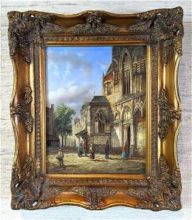 European Oil Painting on Panel. Unsigned.