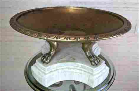 KREISS Large Brass and Marble Centerpiece Bowl.